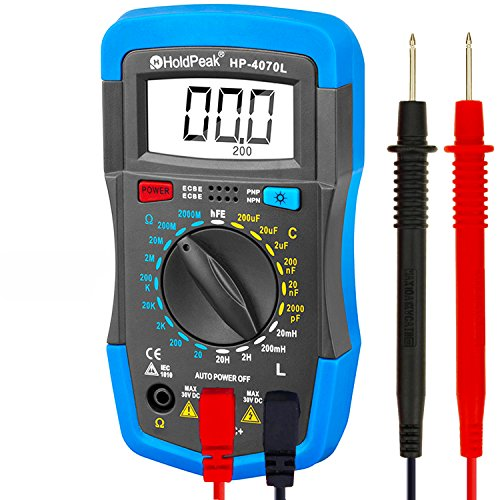 Digital Multimeter, HOLDPEAK 4070L Manual-Ranging Multi Tester for Measuring ResistanceCapacitance, Inductance, Transistor, hFE of 2000 Count (Blue)