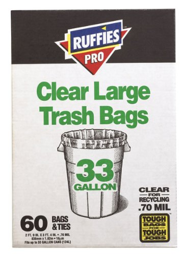 Ruffies Pro 1124909 33ガロンクリアXL Trash Bags 60 Count B000AS3CY8