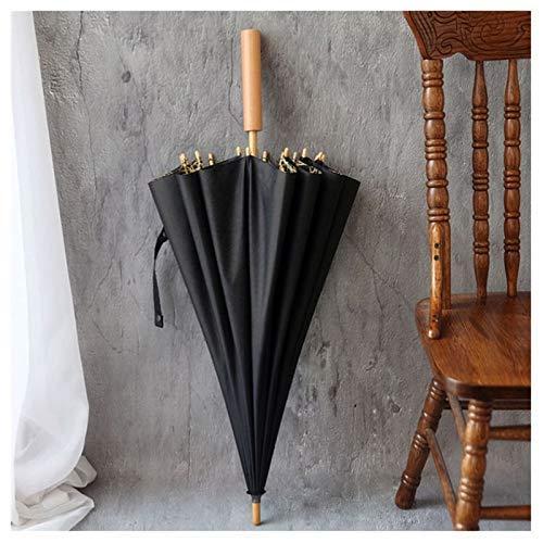 XQY Sun and Rain Umbrella,Parasol Umbrella Sunblock Uv,Sun Shade Umbrella-Umbrella with 16 Fiberglass Ribs, Wooden Cap and Wooden Handle Long Straight,Black ()
