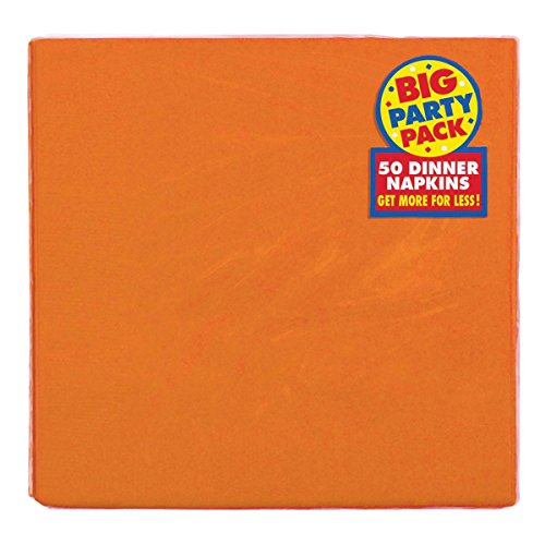Amscan Big Party Pack Festive Dinner Napkins Tableware, 50 Pieces, Made from Paper, Orange by