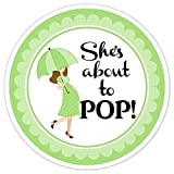 36 Baby Shower Labels, About to Pop stickers, Green Baby Shower Stickers - Baby Bump About to POP Labels, Green Umbrella Shower Stickers