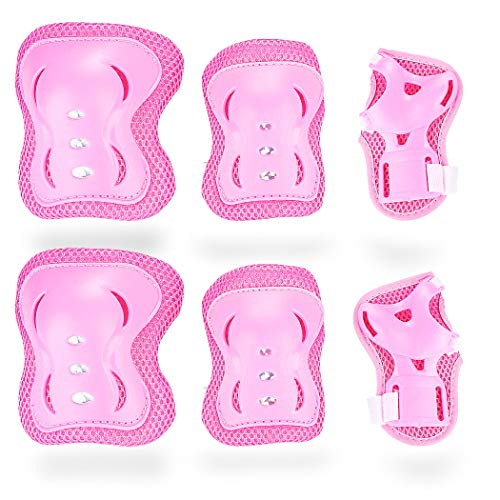 SZ-JIAHAIYU Kids/Youth Outdoor Sports Protective Gear Knee Elbow Pads and Wrist Guards BMX Ski Skateboard Bicycle Rollerblading Scooter Motocross Boy and Girl Universal (Pink, 3-7 Years)