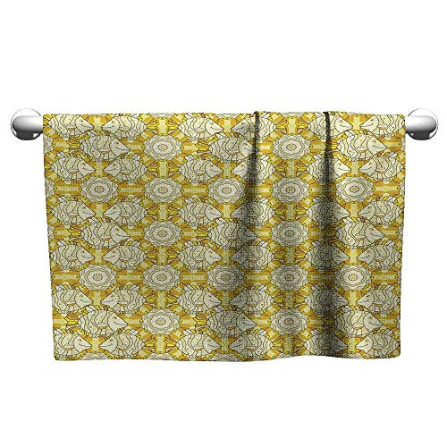 """Yellow and White,Hand Towel Aquarium Fishes with Stripes on Floral Composition Background Sports Ttowel Marigold Beige Yellow W 10"""" x L 10"""""""