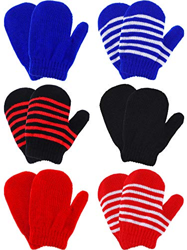 Boao 6 Pairs Stretch Mittens Winter Warm Knitted Gloves for Halloween Party Kids Toddler Supplies (Color 5)