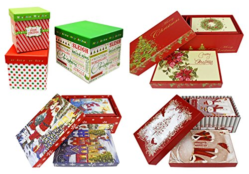 Set of 12 Alef Elegant Decorative Holiday Themed Nesting Gift Boxes -3 Boxes- Nesting Boxes Beautifully Themed and Decorated!