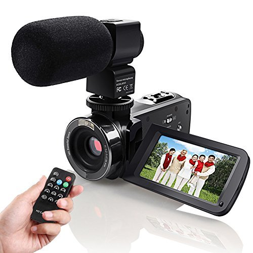 """Camera Camcorder, Eamplest Remote Control Infrared Night Vision Handy Camera Camcorder with Full HD 1080P 24MP 16X Digital Zoom 3"""" LCD 270 Degree Touchscreen Video Camera With External Microphone(301)"""