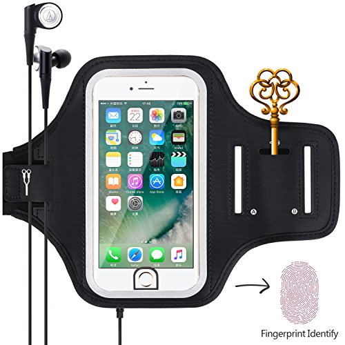 Sports Armband, Universal Outdoor Running Arm Band Workout Cell Phone Bag with Key Holder/Fingerprint Touch for Apple iPhone X/8/7/6S/6 Plus, Samsung Galaxy S8/S7/S6 Edge, Note LG HTC (Black)
