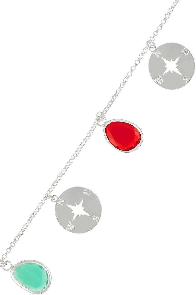Córdoba Jewels | Pulsera en Plata de Ley 925 con Piedra semipreciosa. Diseño Rosa de los Vientos Colors Silver