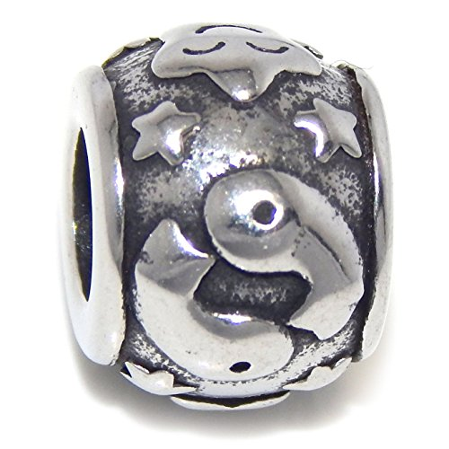 Stainless Steel Pisces Zodiac Sign Spacer Charm Bead for European Snake Chain Bracelets