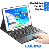 iPad 7th Generation Keyboard Case with Touchpad Function, Boriyuan Detachable Keyboard Slim Leather Folio Smart Cover with Pencil Holder for iPad 10.2 Inch/iPad Air 3rd Gen 10.5'/iPad Pro 10.5 - Black
