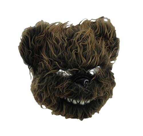 Scary Bear Mask - Plastic Mens Costume Masks Hairy Scary Furry Evil Teddy Bear Mask - 10 X 9.5 X 4.5 Inches - Brown - Style # 15639