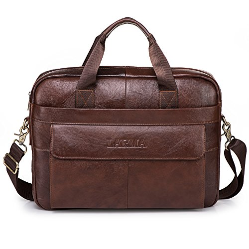 Men's Classic Top Cow Genuine Leather Business Handbag Briefcase Shoulder Messenger Satchel Bag For Laptop Macbook (Brown)