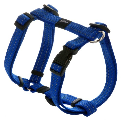 Reflective Adjustable Dog H Harness for Small to Medium Dogs; matching collar and leash available, Blue