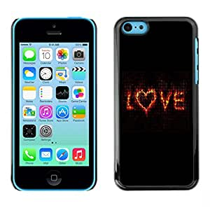 iBinBang / Funda Carcasa Cover Skin Case - El amor de San Valentín Flaming texto Corazón Negro - Apple iPhone 5C