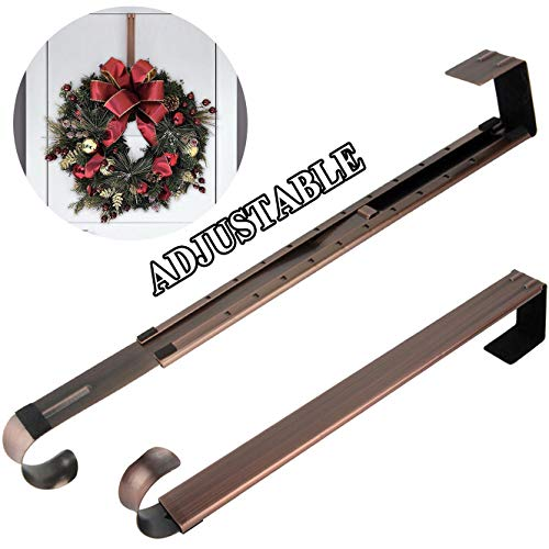 Reef Hanger - Wreath Hanger,Adjustable Length 14.9-25 Inch Metal Door Hanger,Wreath Hanger for Front Door 20 lbs Larger Christmas Wreaths Decorations Hook, Bronze