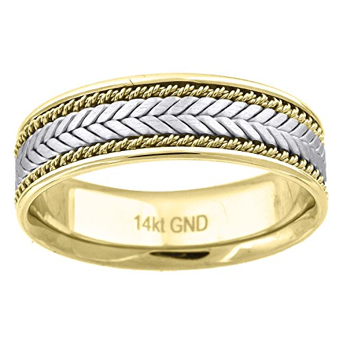 14kt Gold Mens Two-tone Braided Center Double Ropes Twisted Sides 6.5mm-SZ13 Wedding Engagement Band Ring - Gold Braided Ring