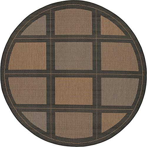 Couristan 1043/2500 Recife Summit 7-Feet 6-Inch Round Rug, Cocoa Black