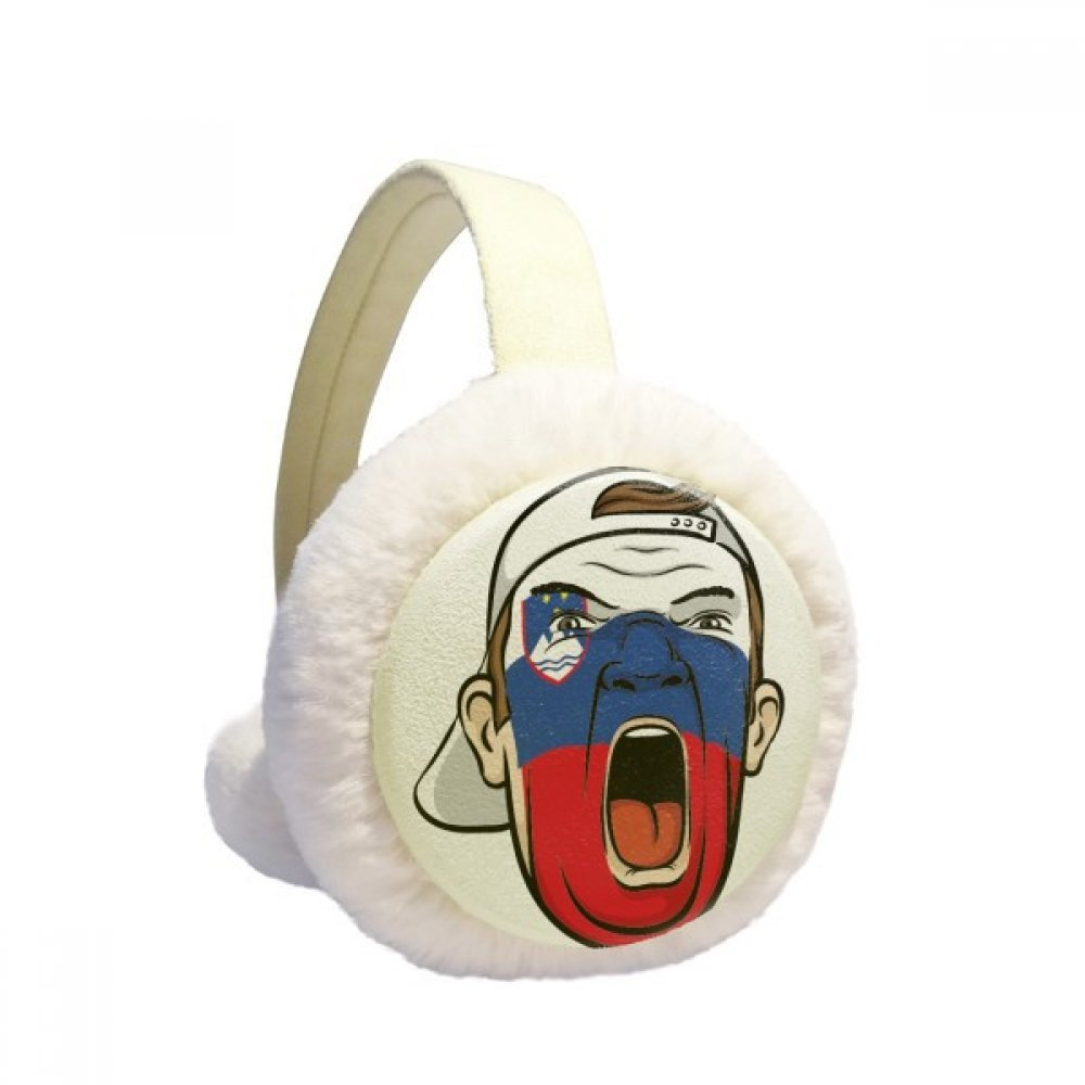 Slovenia Flag Makeup Mask Screaming Cap Winter Earmuffs Ear Warmers Faux Fur Foldable Plush Outdoor Gift