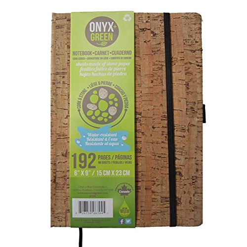 """Onyx and Green Notebook, 6"""" x 9"""" with Elastic Closure, 96 Blank Sheets, Stone Paper, Cork Cover (6704)"""