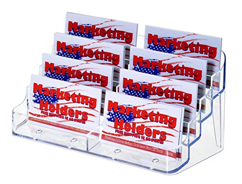 Marketing Holders CLEAR Eight 8 POCKET BUSINESS CARD HOLDER 4 Tier - 4 Tier Card Holder