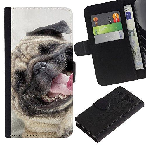 EuroCase - Samsung Galaxy S3 III I9300 - pug happy smiling dog pet canine fawn - Cuero PU Delgado caso cubierta Shell Armor Funda Case Cover
