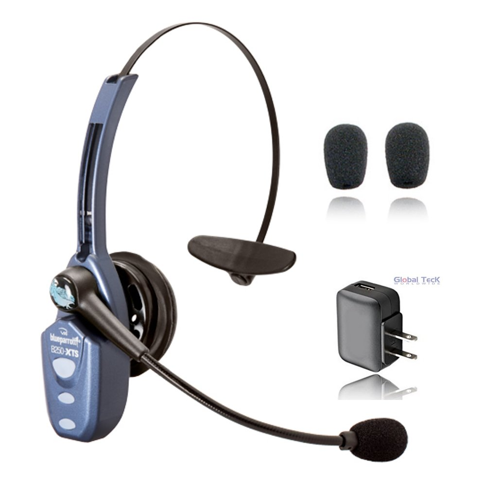VXi BlueParrott B250-XTS Bluetooth Headset Bundle including Extra Cushions and Wall Charger compatible with Android OS Phone/Tablet and Apple iOS iPhone/iPad