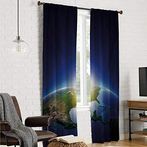 Mozenou Polyester Microfiber Country Curtain Earth,Earth Sunrise Over Cloudless North America Atmosphere Space Solar System,Blue Dark Blue Green W84 x L96 Inch ()