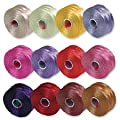 S-Lon Beading Thread Mixture 12 Colors Size D Flower Colors