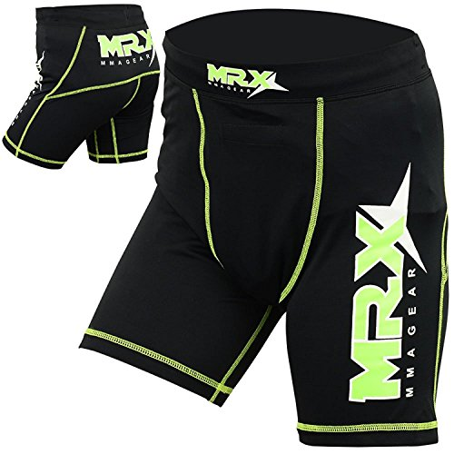 New Mrx MMA Compression Shorts with Stabilize Cup Sports Short Martial Arts, Kick Boxing, Black-Green