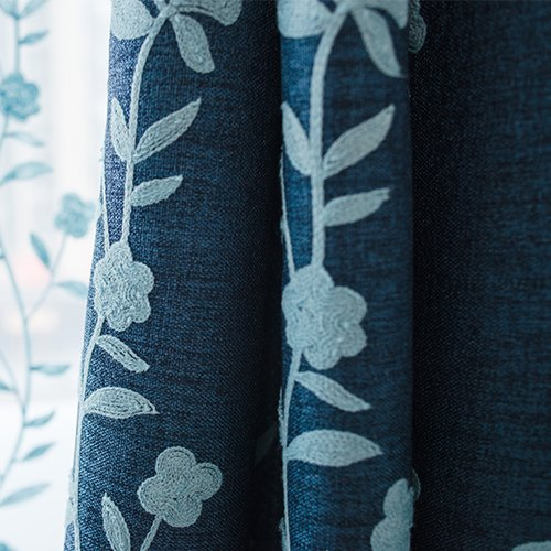 Melodieux Flower Embroidery Faux Linen Window Blackout Noise-Free Grommet Top Curtains for Bedroom 52 by 96 Inch Navy/Blue 1 Panel