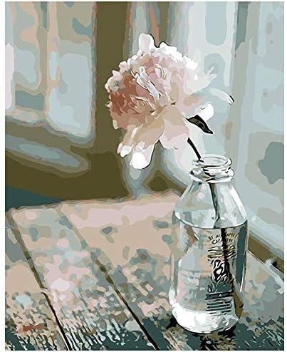 Malen Nach Zahlen Kit Digital Farbe  Ölgemälde Blume in der Flasche Kein Rahmen