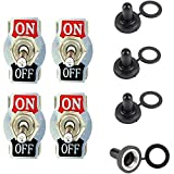 Qiorange Heavy Duty 20A 125V 15A 250V SPST 2 Terminal Pin ON/OFF Rocker Toggle Switch Metal Bat Waterproof Boot Cap Cover Black Pack of 4 (ON/OFF 2Pin)