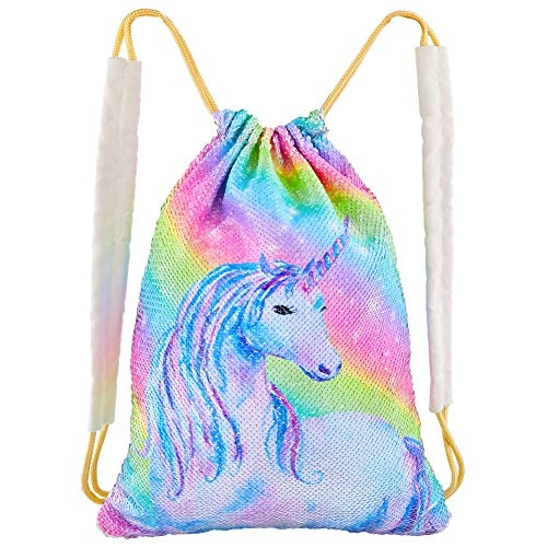 (Play Tailor Sequin Unicorn Drawstring Bag Flip Sequin Backpack Glittering Outdoor Sports Bag Dance Bag, Rainbow Unicorn)