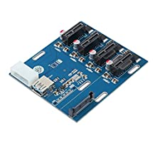 ESYNIC PCI-E to PCI-E 1 to 4 Ports Switch Multiplier HUB Riser Card PCI-E 1X Express Riser Card PCI-E Expansion Kit with USB 3.0 Cable Pcie BitCoin Mining Modules