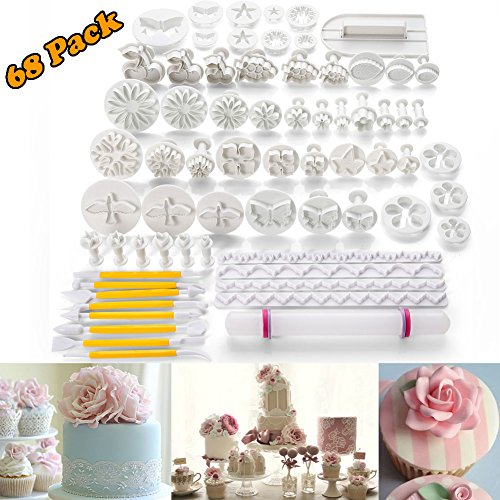 68pcs Fondant Cake Decoration Tools Kit Sugarcraft Icing Mold Mould Cutters Bakeware Gumpaste Modelling Tool, Rolling Pin Smoother Embosser Flower Scissors Accessories Supplies