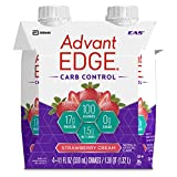 EAS AdvantEDGE Carb Control Protein Shake Strawberry Cream Ready-to-Drink, 17 g of Protein 11 fl oz Bottle, 12 Count