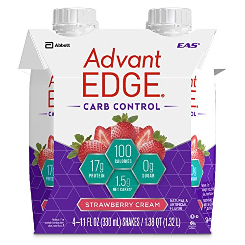 EAS AdvantEDGE Carb Control Ready-to-Drink Protein Shake, Strawberry Cream, 11 fluid ounces, 24 count (Product May Vary)