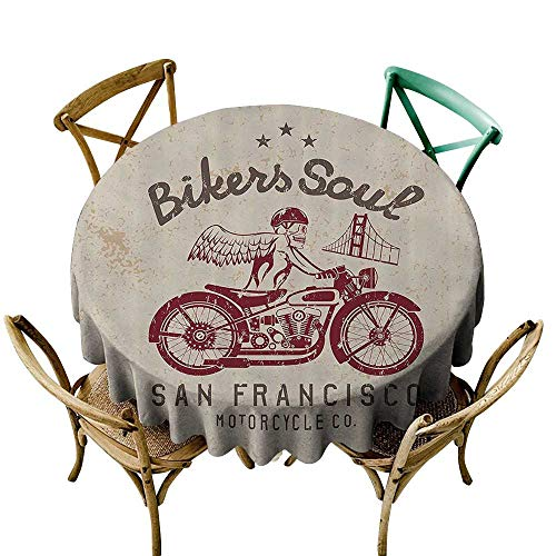 Mannwarehouse Retro Oil-Proof Tablecloth Bikers Soul San Francisco Emblem with Skull Wings Riding Motorcycle Dead Illustration Easy Care D39 Beige Ruby