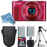Canon PowerShot SX620 HS Digital Camera (Red) + 16GB Class 10 Memory Card + Backup Battery + Point & Shoot Camera Case + Card Reader + Tripod + Screen Protector + DigitalAndMore Accessory Bundle