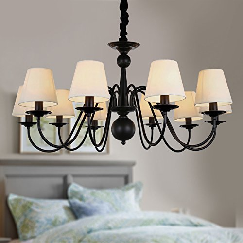 10-Light Black Wrought Iron Chandelier with Cloth Shades (A-2016-10)