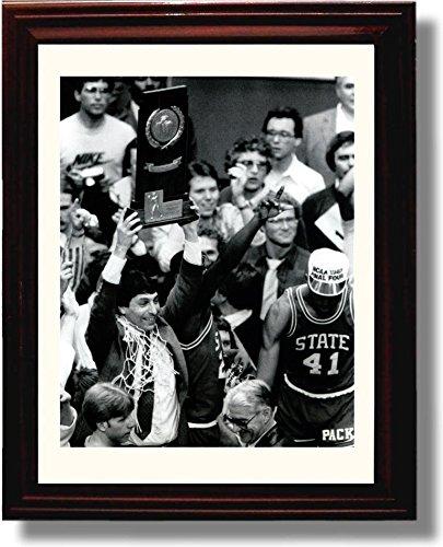 Framed Jim Valvano Championship Trophy Presentation Print - NC State Wolfpack ()