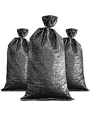 FAMI Sandbags 16''x 25'' Black Woven Poly Sandbags 20 Pack- Black
