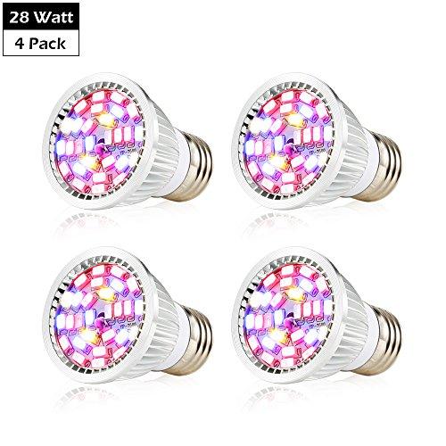 Create Bright Led Grow Light Bulb, 28W Full Spectrum Led Grow light Bulb E26 Base, Pack of 4