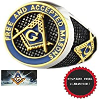 A.Yupha Masonic Ring Freemason Mens Stainless Steel Blue Enamel Gold Mason s 7-14.5 (10.5)
