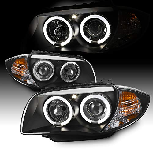 For BMW E87 1 Series Sport Coupe Halogen Type Black Bezel Dual Halo Projector Headlights Lamps ()