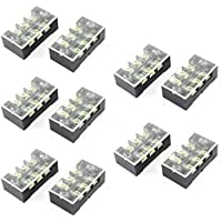 uxcell 600V 25A Dual Row 3 Position Screw Barrier Terminal Block Strip 10 Pcs
