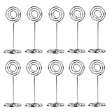FENICAL Circle Shape Place Card Holder Photo Holders for Wedding Party Favor Clips (Silver) Pack of 10pcs