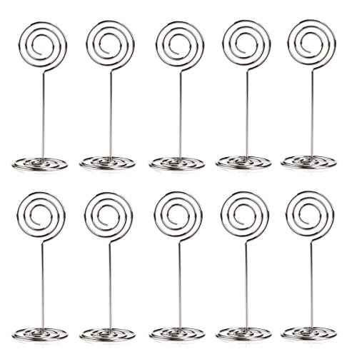 FENICAL Circle Shape Place Card Holder Photo Holders for Wedding Party Favor Clips (Silver) Pack of - Circles Party