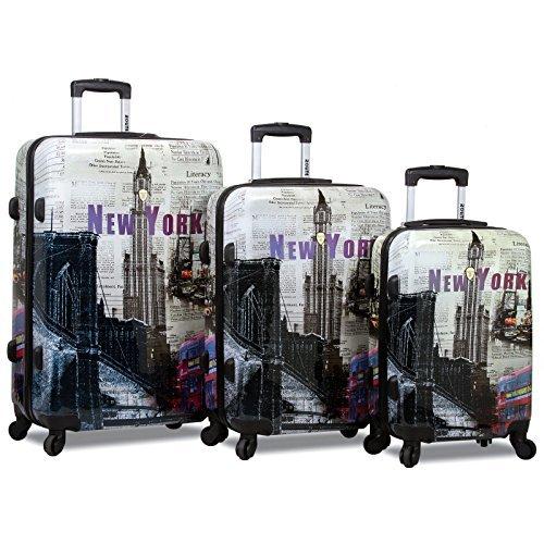 Rolite 3-Piece Lightweight Hardside Spinner Luggage Set, New York