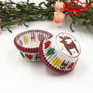 Restonc Paper Baking Cupcake Cups Liners with Christmas Elk Tree (5000)